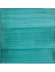 Hand-painted tile in turquoise
