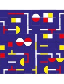 Motivo LABERINTO rojo/amarillo/azul