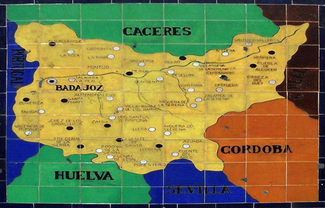 mapa badajoz espanha Bancos de cerámica y escudos de la Plaza de España de Sevilla  mapa badajoz espanha