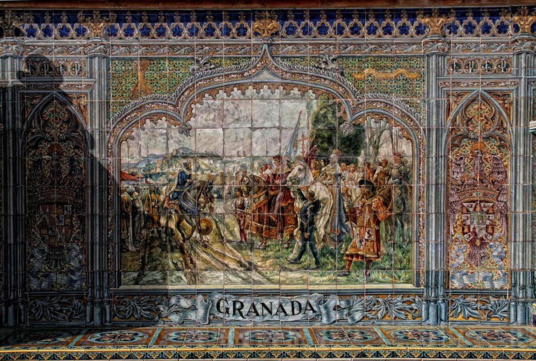 Bancos de cer mica y escudos de la plaza de espa a de for La casa de granada en madrid
